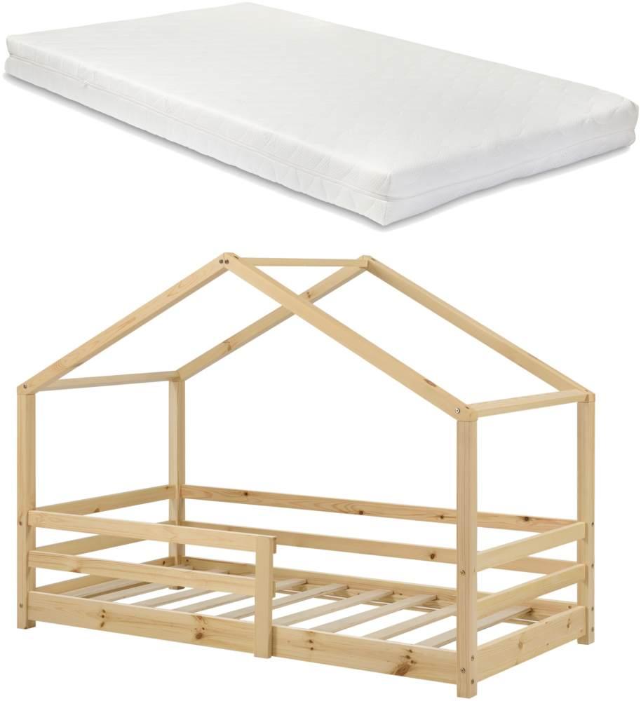 en. casa Kinderbett, 90 x 200 cm, mit Matratze und Rausfallschutz, natur Bild 1