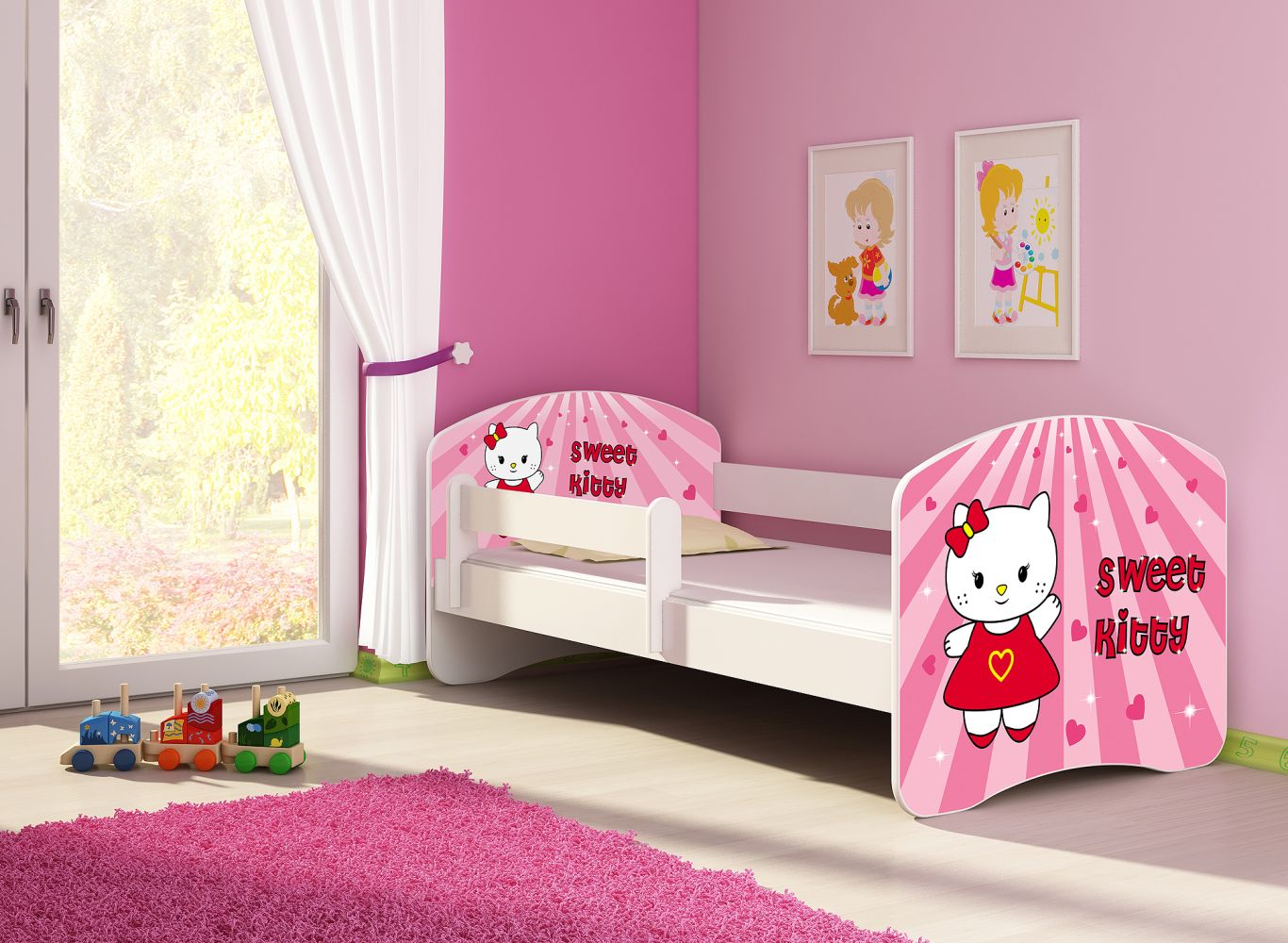 Clamaro 'Fantasia' Kinderbett 'Sweet Kitty' 80 x 160 cm inkl. Rausfallschutz, Matratze und Lattenrost Bild 1