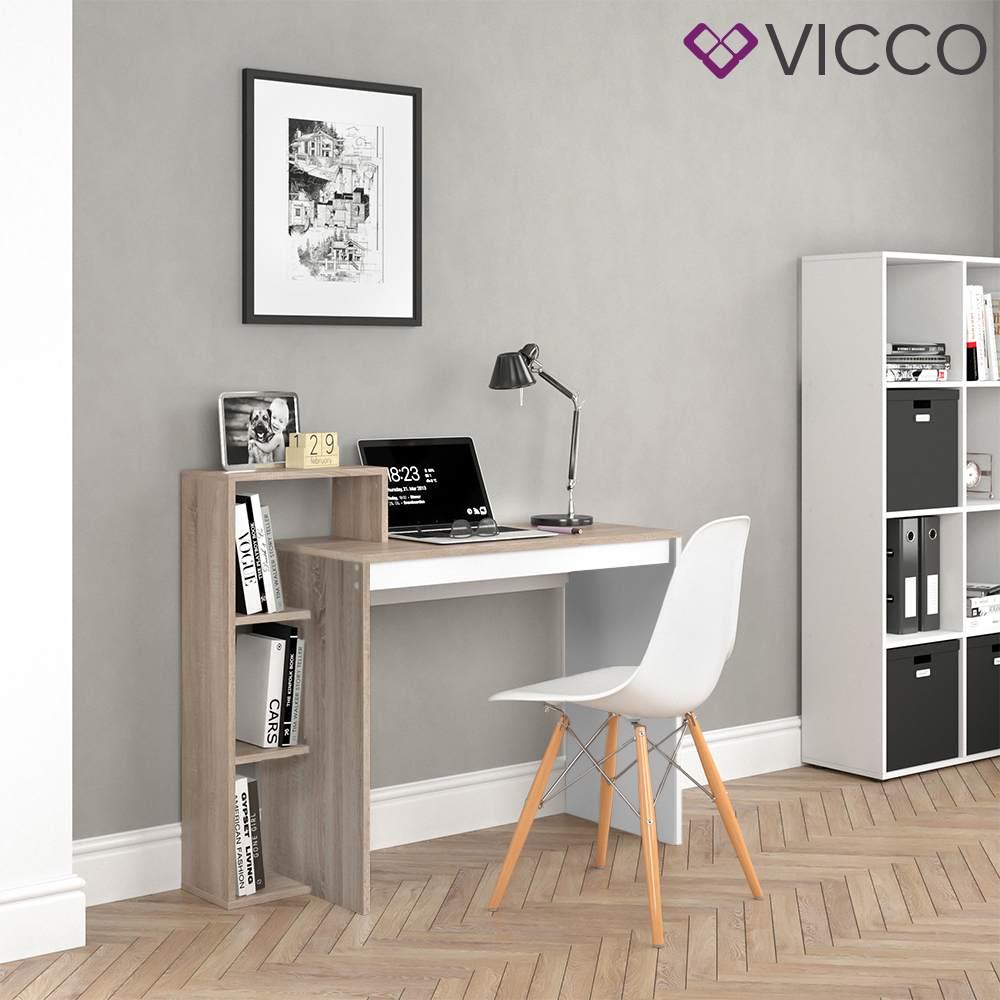 Vicco 'Leo' Schreibtisch, Weiß/Sonoma Bild 1