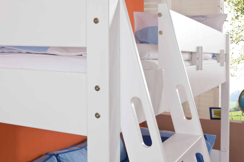 Relita Etagenbett STEFAN Buche massiv weiß lackiert 90x200 Bild 1