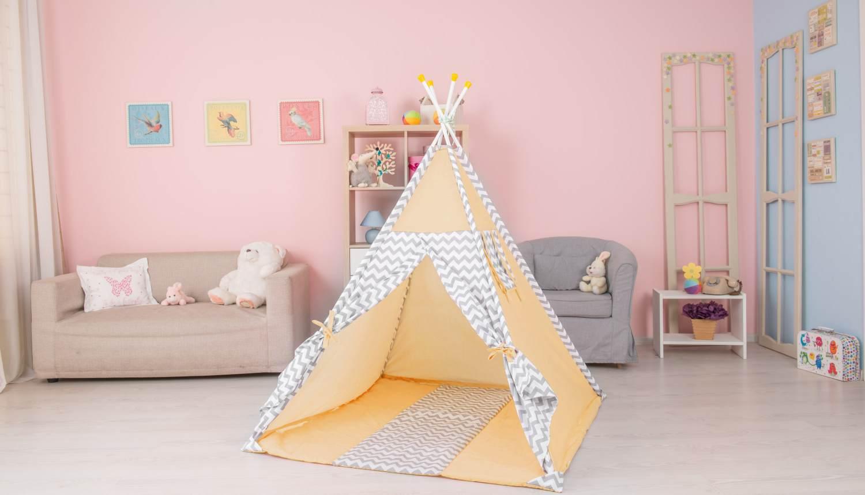 Polini Kids Tipi Spielzelt für Kinder Baumwolle mit Tasche gelb Bild 1