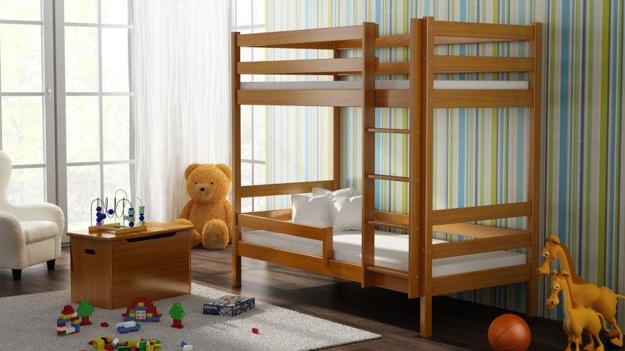Kinderbettenwelt 'Peter' Etagenbett 80x190 cm, erle, Kiefer massiv, inkl. Lattenroste Bild 1