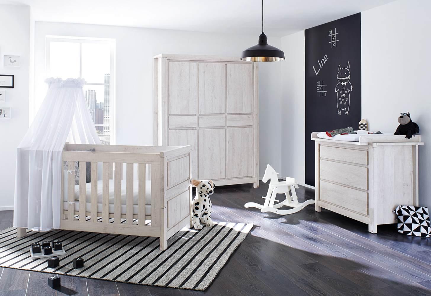 Pinolino 'Line' 3-tlg. Babyzimmer-Set grau, 3-türig Bild 1