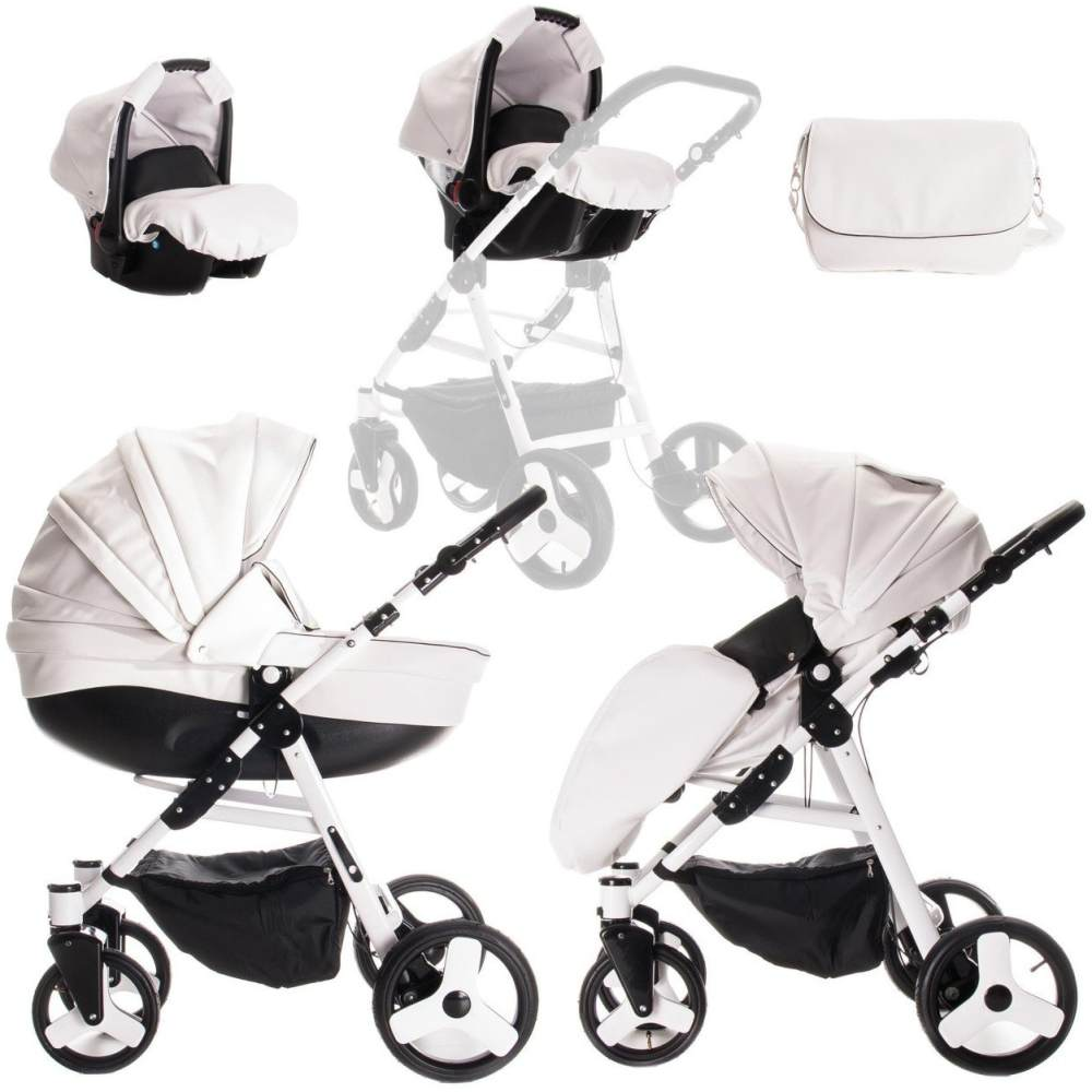 Friedrich Hugo - Easy Comfort - 3 in 1 Kombi Kinderwagen Komplettset - Farbe: White Black & Leatherette Bild 1