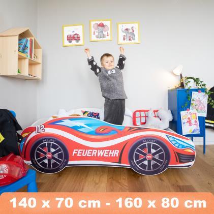 Alcube 'Feuerwehr' Autobett 140 x 70 cm inkl. Lattenrost und Matratze, rot Bild 1