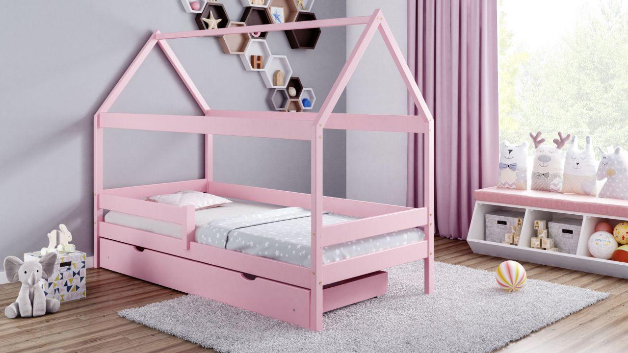 Kinderbettenwelt 'Home Plus' Hausbett 90x200 cm, rosa, Kiefer massiv, mit Schublade und Matratze Bild 1