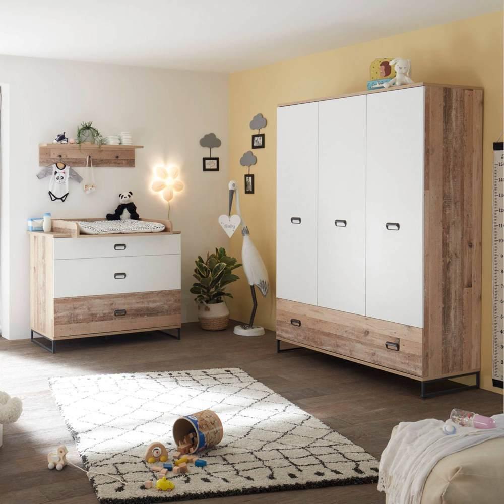 Lomado Babyzimmer Set 3tlg. ROANNE-78 in Eiche Old Style hell / weiß Bild 1