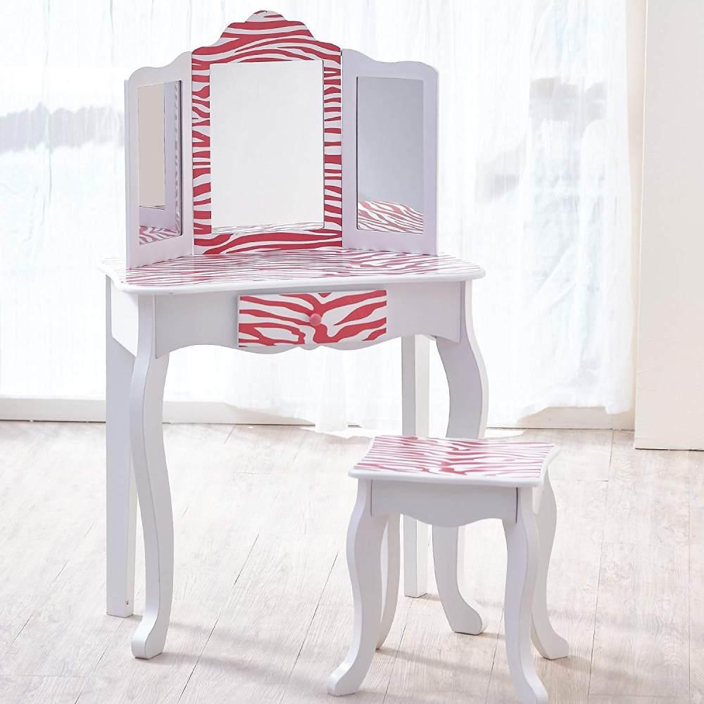 Kinderschminktisch mit Hocker 'Zebra' weiß/pink Bild 1