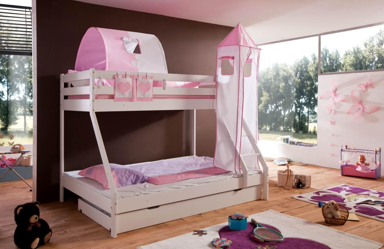 Relita 'Mike' Etagenbett weiß, inkl. Bettschublade und Textilset 1-er Tunnel, Turm und Tasche 'rosa/weiß' Bild 1