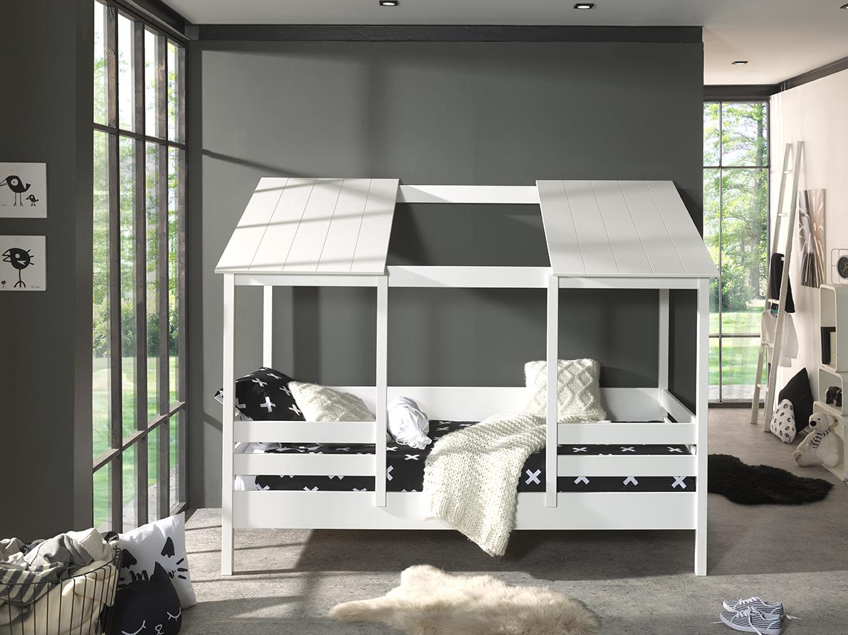 Vipack Hausbett mit 90 x 200 cm Liegefläche, offenes Dach in Weiß Bild 1