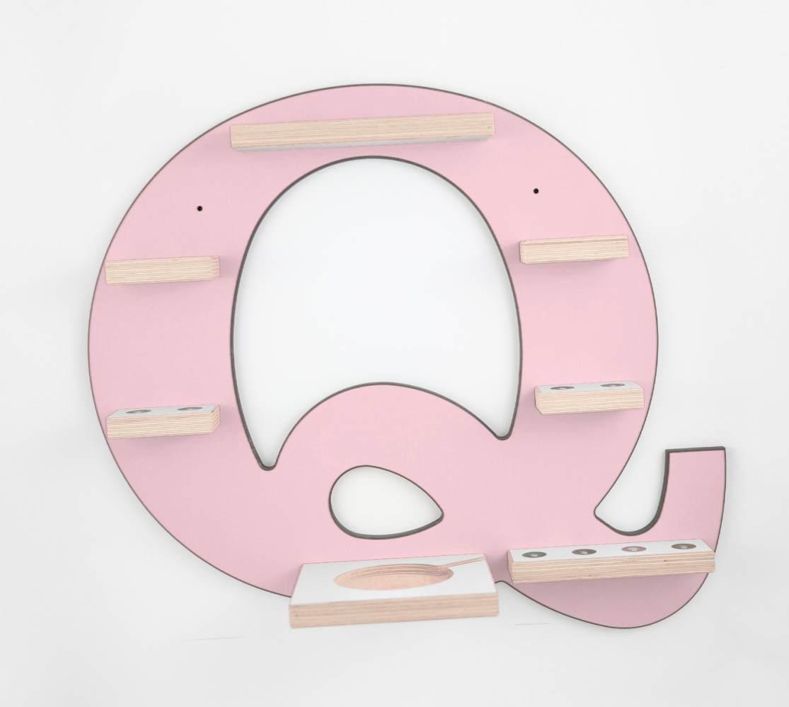 Schreinerei Linden 'Buchstabe Q' Tonie Regal mit Musikboxhalter, rosa Bild 1