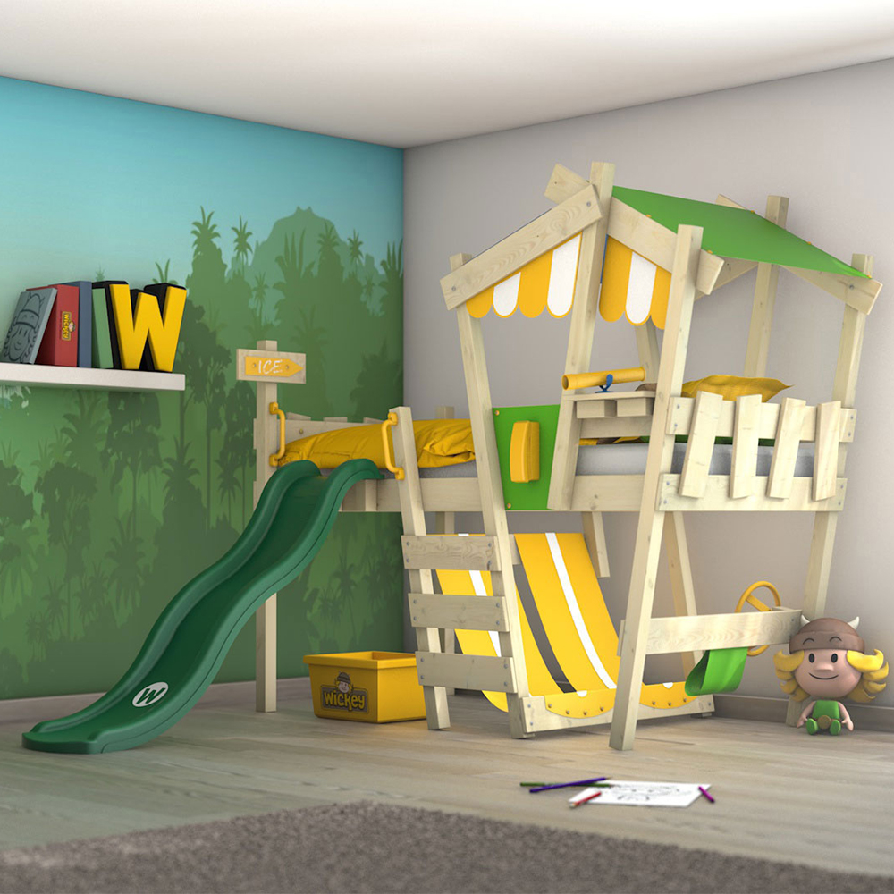 Wickey 'Crazy Hutty' Spielbett, Grün/Gelb, 90x200 cm, mit grüner Rutsche Bild 1
