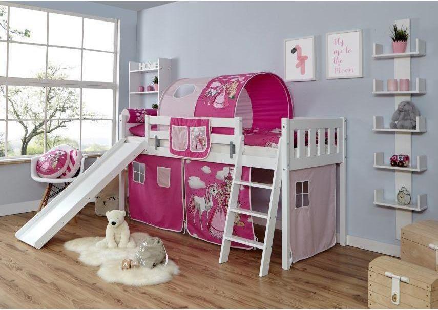 Ticaa 'Ekki' Rutschbett Vertikal Buche Weiß, 90 x 200 cm, Vorhang Horse-Pink (Ausführung 1) Bild 1