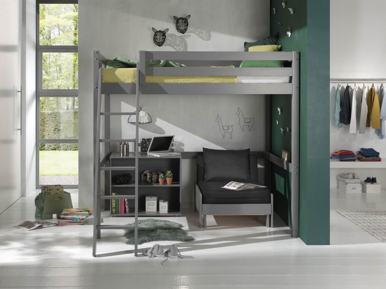Vipack Hochbett 140 x 200 cm inkl. Sesselbett und Regal mit zwei Fächern, grau Bild 1