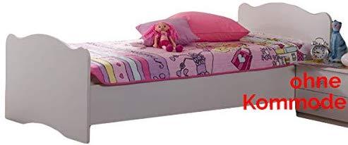 Jugendbett 90 * 200 cm weiß Made in Germany Mädchen Jugendzimmer Kinderzimmer Jugendliege Kinderbett Bettliege Bett Bettgestell Holzbett Bild 1