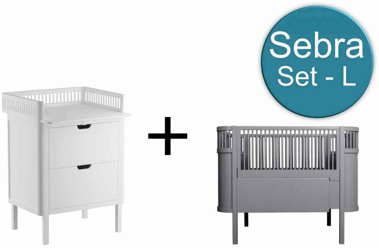 Sebra Baby & Juniorbett mit Kommode Set-L Classic Grey Weiss Bild 1