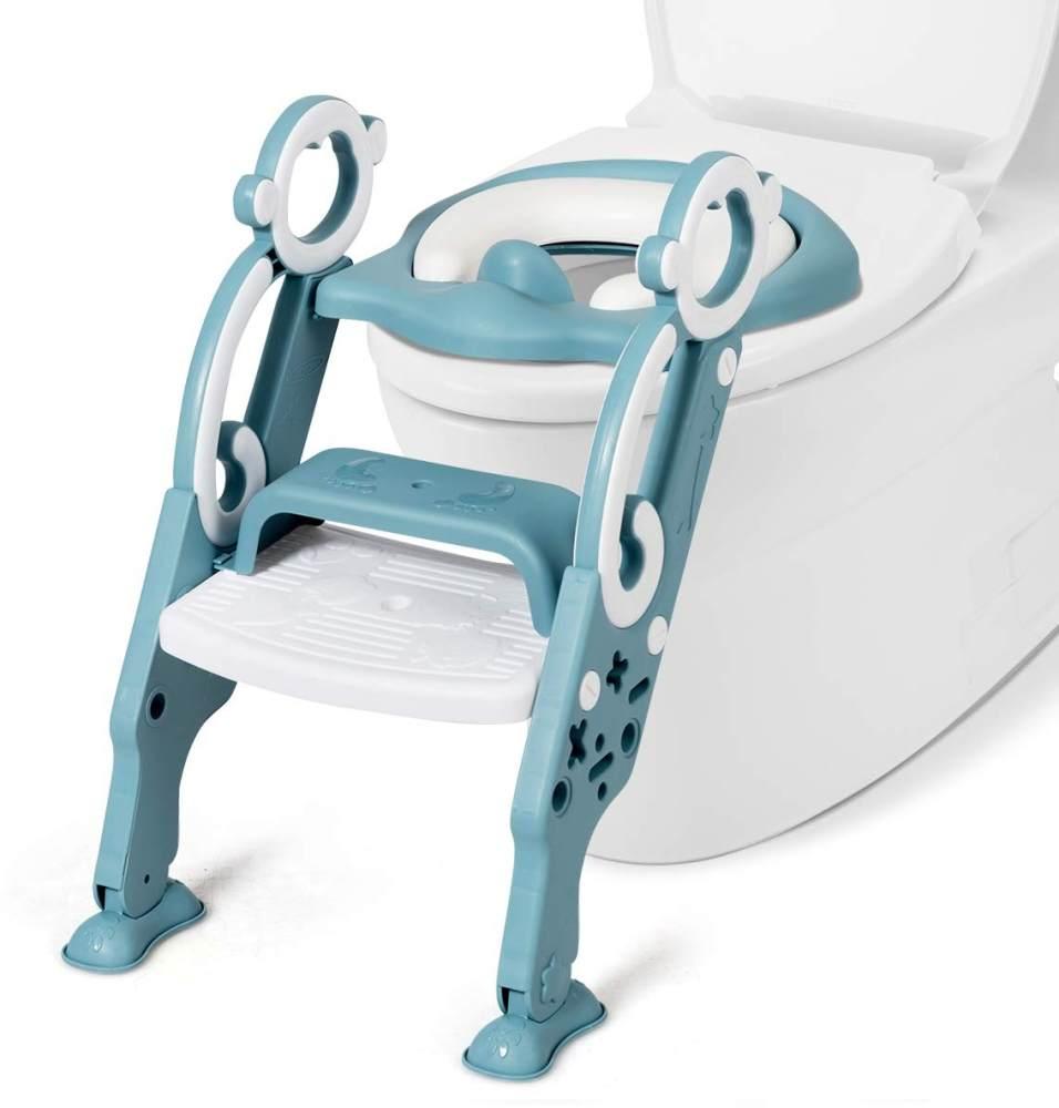 COSTWAY Kinder Toilettensitz höhenverstellbar, Kindertoilette faltbar, Toilettentrainer mit Leiter und Griffe Bild 1