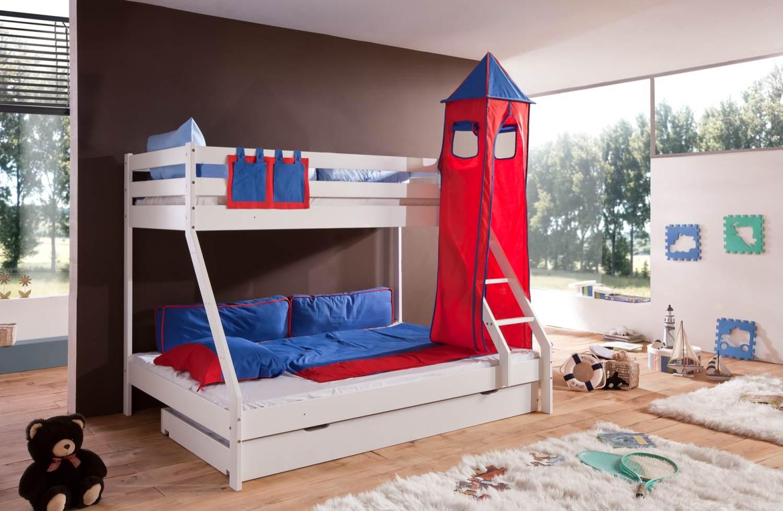 Relita 'Mike' Etagenbett weiß, inkl. Bettschublade und Textilset Turm und Tasche 'blau/rot' Bild 1