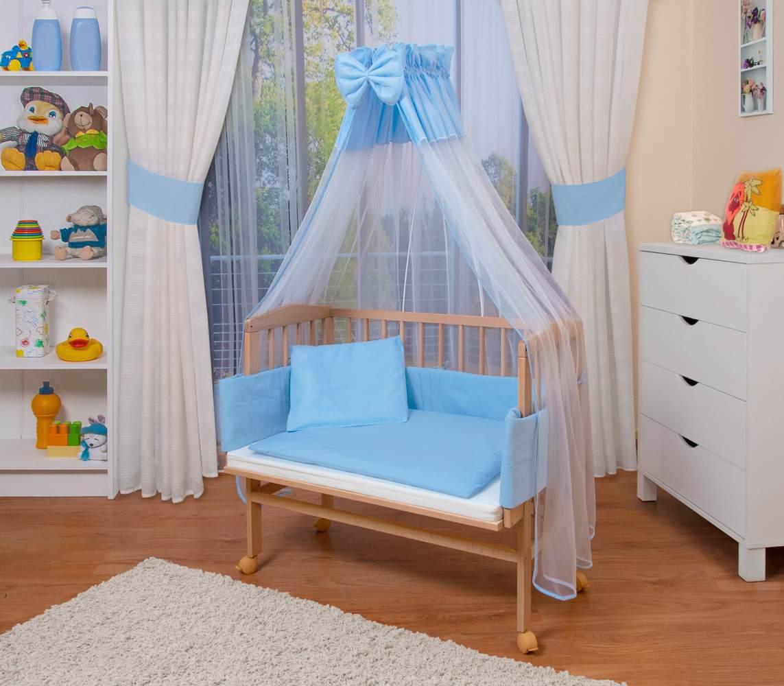 WALDIN Beistellbett mit Matratze und Nestchen, höhenverstellbar, Ausstattung blau/weiß, Gestell Natur unbehandelt Bild 1