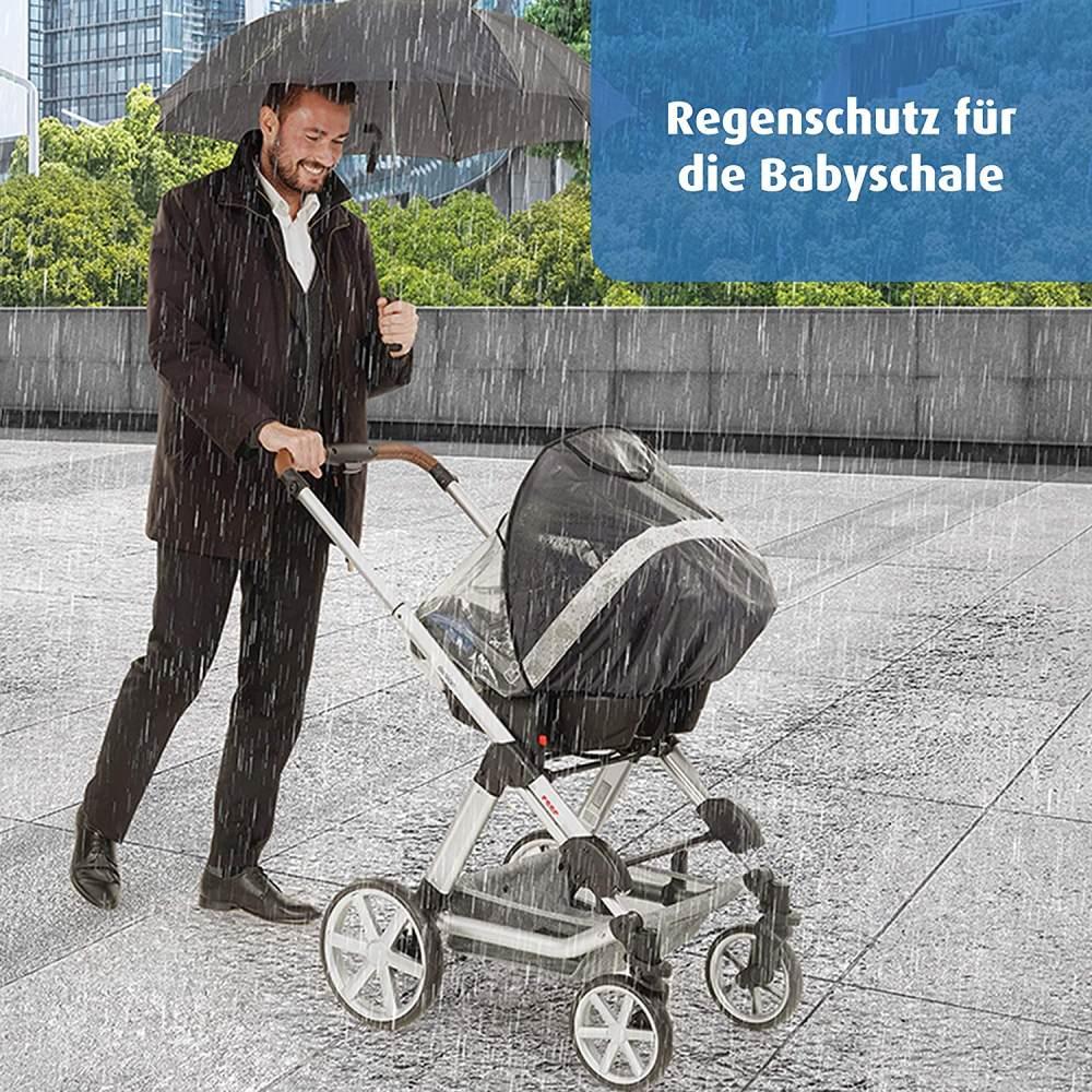 reer DesignLine RainSafe Regenschutz für Babyschale, gute Luftzirkulation, mit Reflektor-Elementen und Aufbewahrungstasche, Regenschutz für Babyschale - DesignLine Bild 1