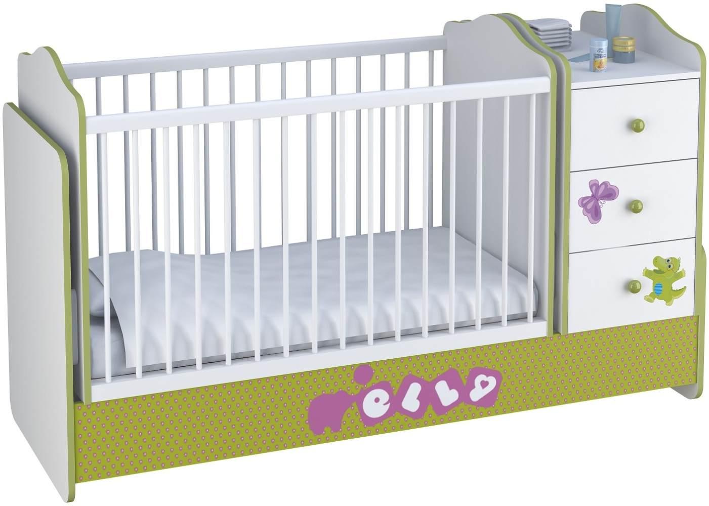 Polini Kids Kombi-Kinderbett Basic mit Kommode weiß grün Elly Bild 1