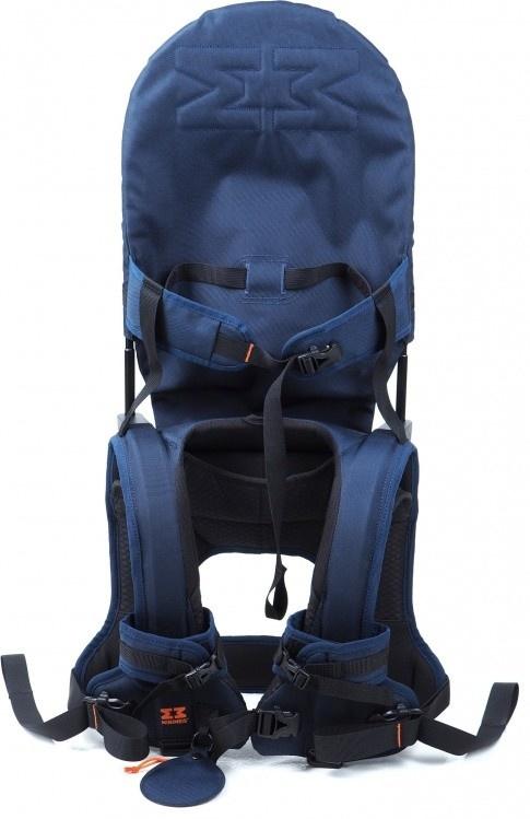 MINIMEIS G4 - Weltweit 1. Baby Schultertrage mit Rückenunterstützung - Faltbares Kinder & Baby Tragesystem für höchsten Komfort & Spaß unterwegs - [6 Monate - 5 Jahre & bis zu 18kg] (Blau/Schwarz) Bild 1