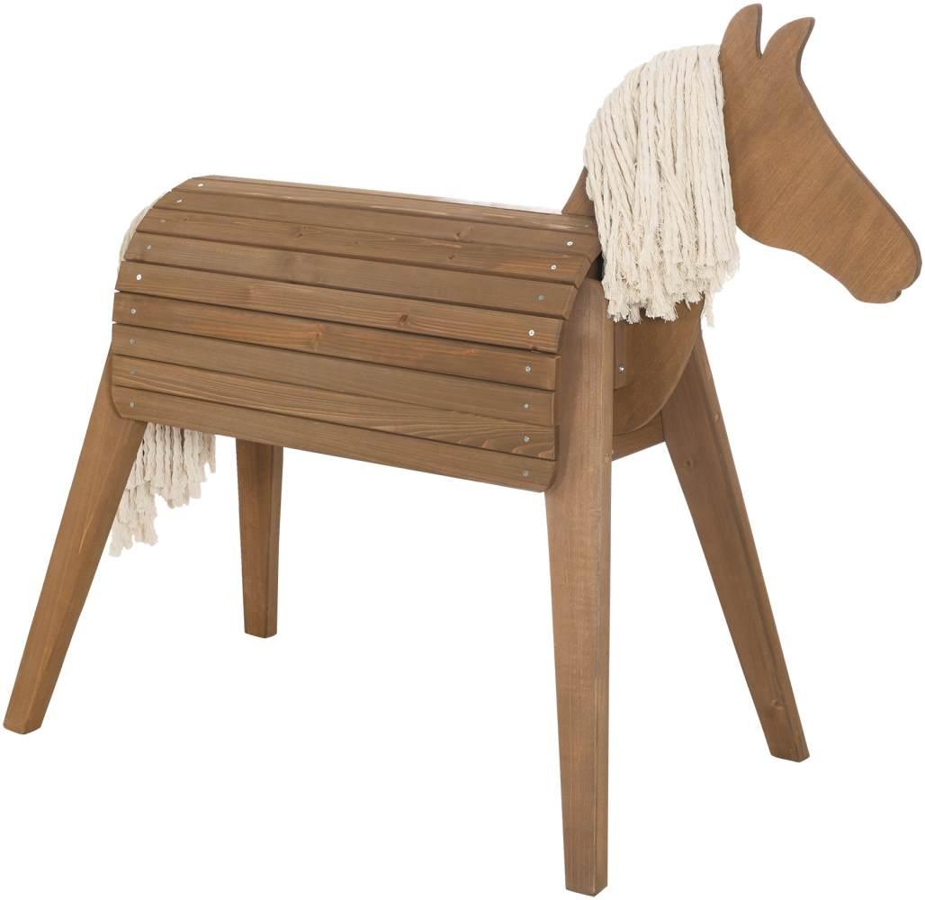 Roba 'Outdoor- & Gartenpferd', teakfarben, Spielpferd aus Massivholz, mit Mähne und Schweif, auch als Voltigierpferd geeignet, ab 3 Jahren Bild 1
