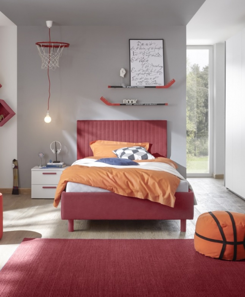 Polsterbett Enjoy 160x200cm gestreift gesteppt 5 Farben Rot Bild 1