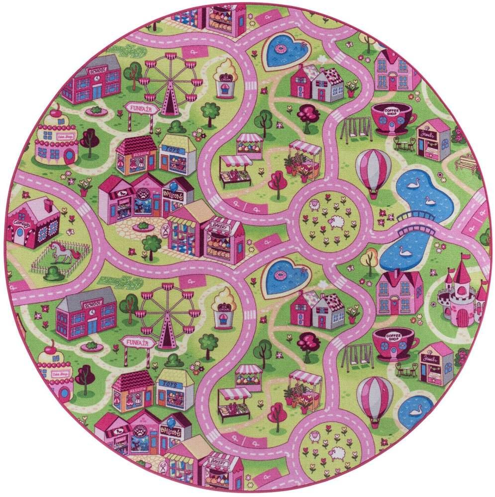 Misento 'City' Kinderteppich 200 cm rund Bild 1