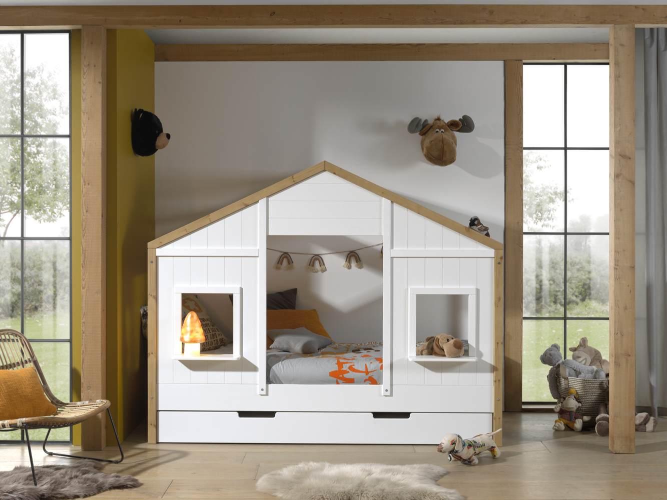 Vipack 'BABS' Landhausbett 90 x 200 cm, Oak/Weiß, inkl. Lattenrost und Bettschublade, teilmassiv Kiefer Bild 1
