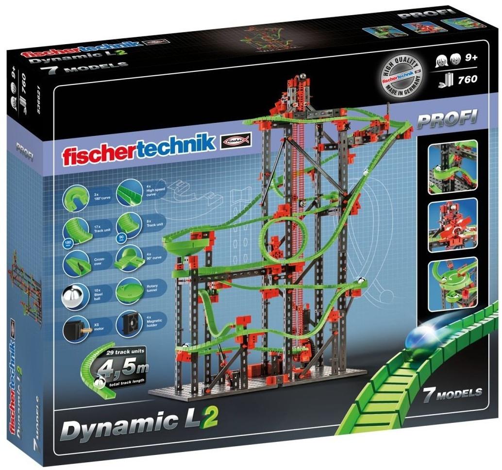 fischertechnik Kugelbahn Dynamic L² mit 4,5m Streckenlänge - Komplettset inklusive Motor - für Kinder ab 9 Jahren - 3 Actionparcours-Modelle und 4 Versuchsmodelle Bild 1