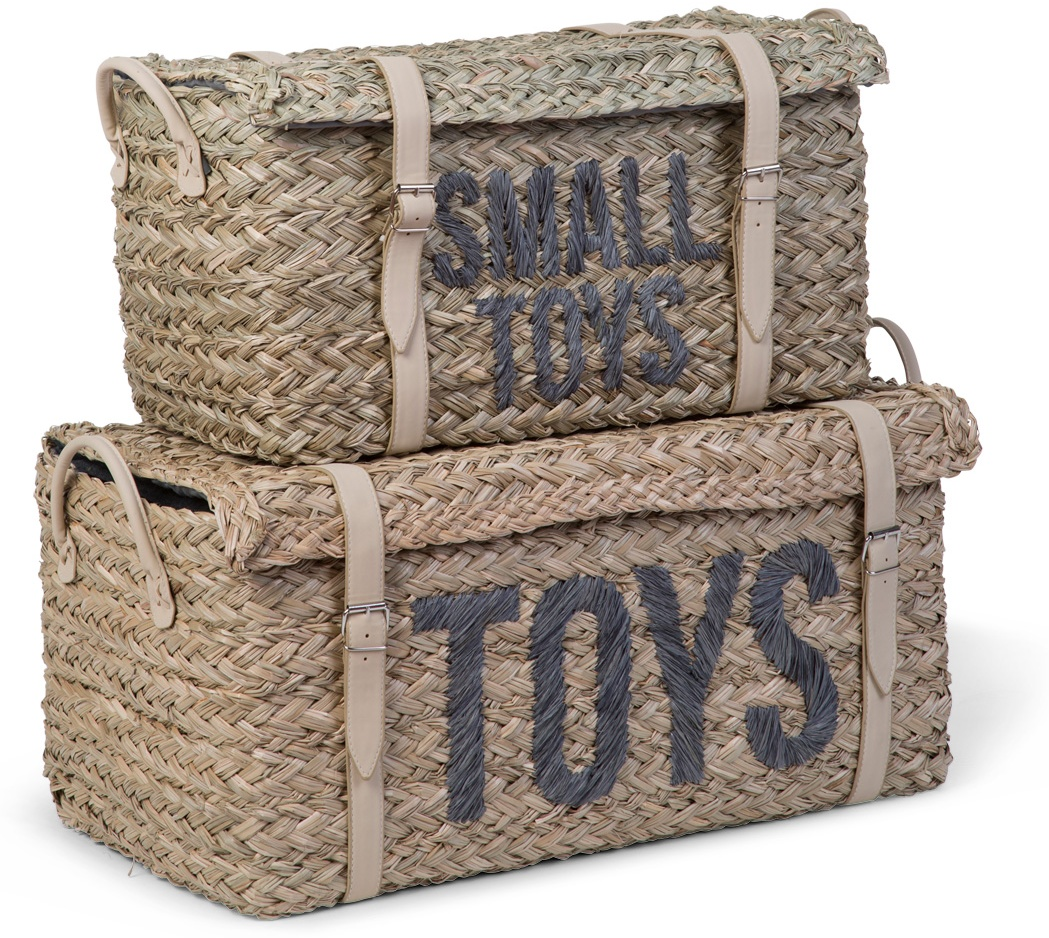 Childhome 2er-Set Spielzeugkisten, Rattan Bild 1