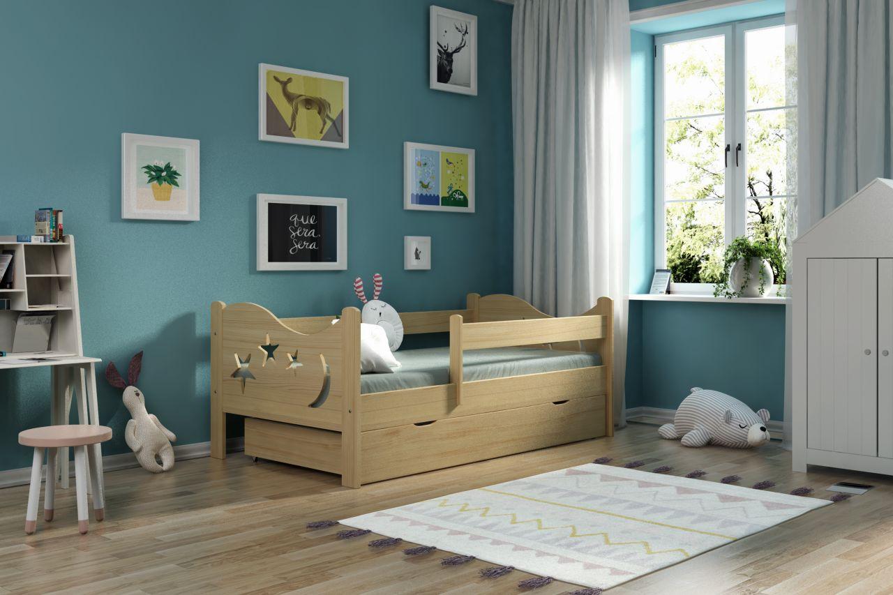 Kinderbettenwelt 'Chrisi' Kinderbett 80x160 cm, Natur, Kiefer massiv, inkl. Schublade, Lattenrost und Matratze Bild 1
