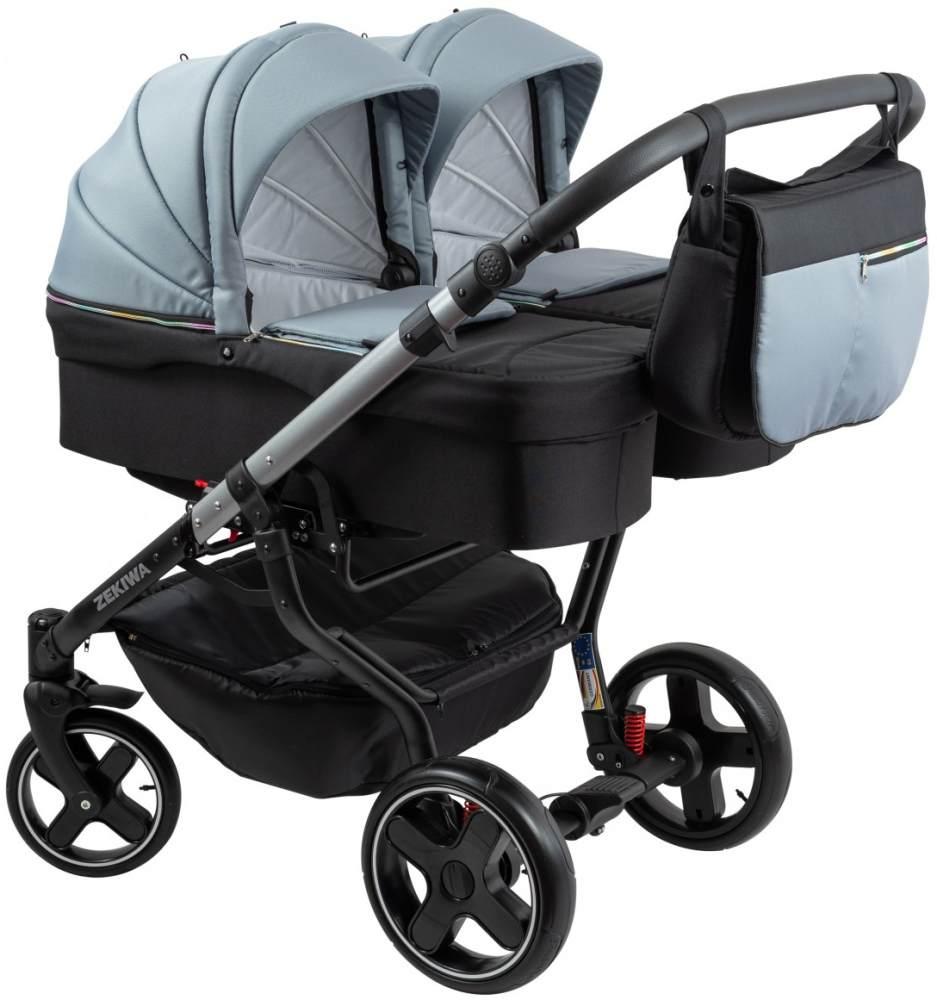 ZEKIWA 'Twins special' Zwillingskinderwagen schwarz/grey inkl. Babywanne und Wickeltasche Bild 1