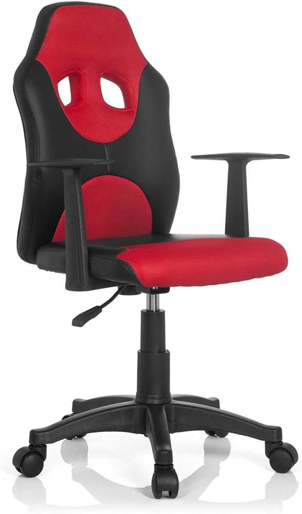hjh OFFICE 670820 Kinder-Drehstuhl Kid Racer AL Kunstleder Schwarz/Rot höhenverstellbarer Kinderschreibtischstuhl mit Armlehnen Bild 1