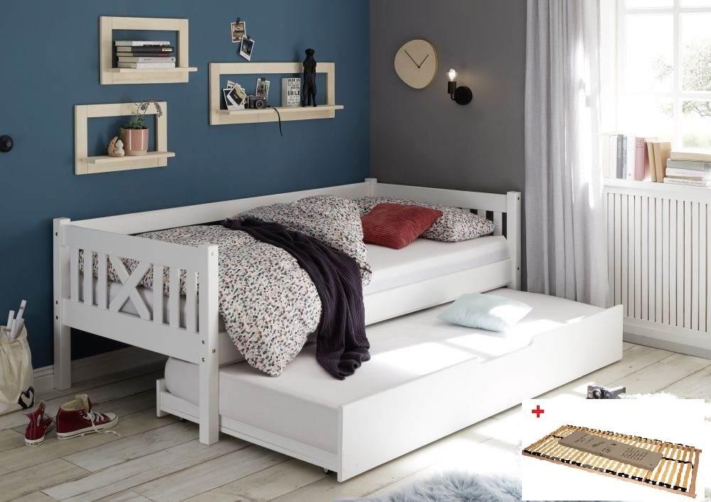 Bega 'Trevi' Kinderbett 90x200 cm, weiß, Kiefer massiv, inkl. Bettliege und Lattenrost Bild 1