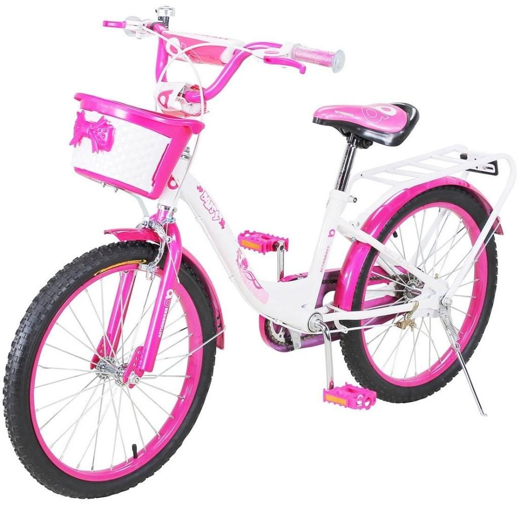 Actionbikes 'Daisy' Kinderfahrrad Pink, 20 Zoll inkl. Felgenbremse, Luftbereifung, Korb und Fahrradständer Bild 1