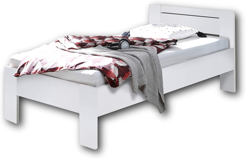 SATURN Stilvolles Futonbett 90 x 200 cm - Komfortables Jugendzimmer Einzelbett in Weiß - 95 x 76 x 204 cm (B/H/T) Bild 1