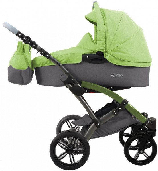 knorr-baby - Voletto Happy Colour - Kombikinderwagen inkl. WiTa, Regenschutz Leinenoptik Grau-Hellgrün Bild 1