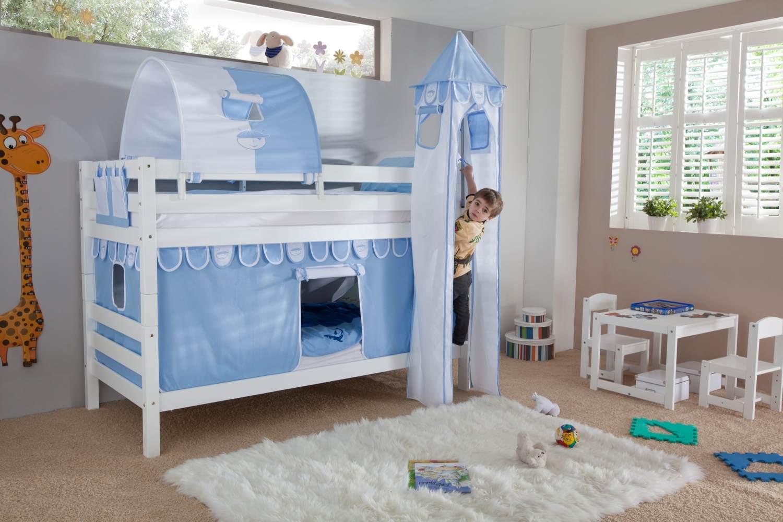 Relita Etagenbett BENI Buche massiv weiß lackiert mit Textilset blau/boy Bild 1