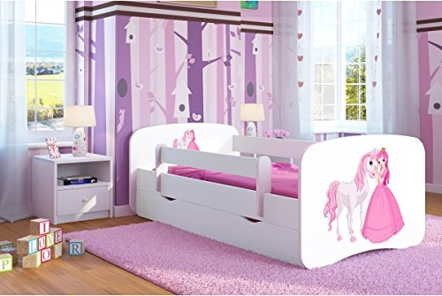 Kocot Kids 'Prinzessin und Pferd' Einzelbett weiß 80x160 cm inkl. Rausfallschutz, Matratze, Schublade und Lattenrost Bild 1