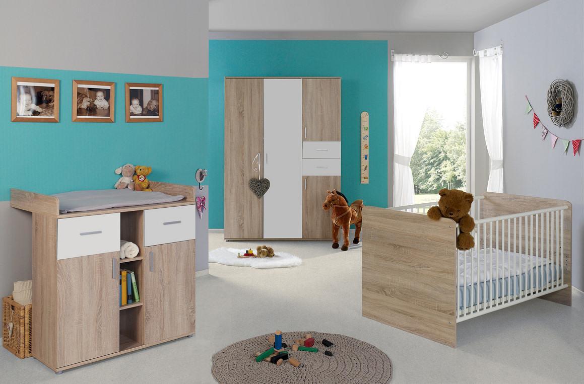 3-tlg. Babyzimmer-Set 'ELISA 3' Eiche Sonoma / Weiß Bild 1