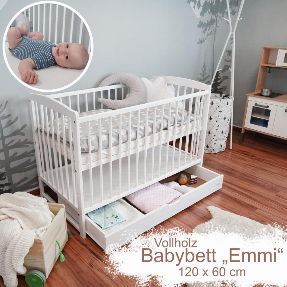 """Mitwachsendes Babybett """"Emmi"""" 120x60 cm zum Kinderbett umbaubar, Kiefer, mit Schlupfsprossen, ohne Schublade, in weiß Bild 1"""