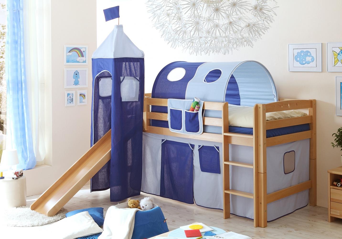 Ticaa Rutschbett mit Turm Toby R Buche Natur - hellblau-dunkelblau Bild 1