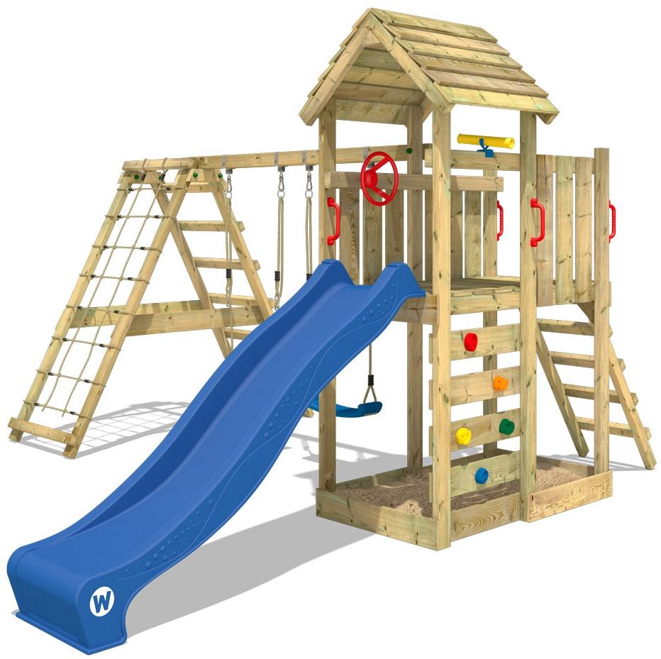WICKEY Spielturm Klettergerüst RocketFlyer mit Schaukel & blauer Rutsche, Kletterturm mit Sandkasten, Leiter & Spiel-Zubehör Bild 1