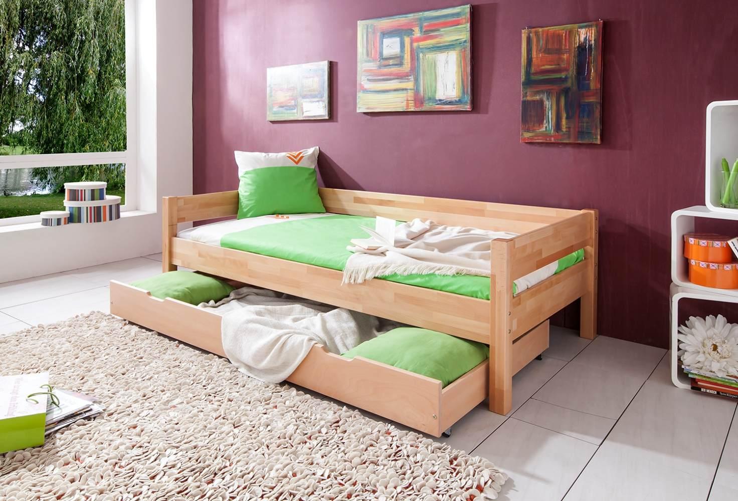 Einzelbett Nik mit Bettkasten in Buche massiv, natur lackiert, Liegefläche 90x200 cm Bild 1