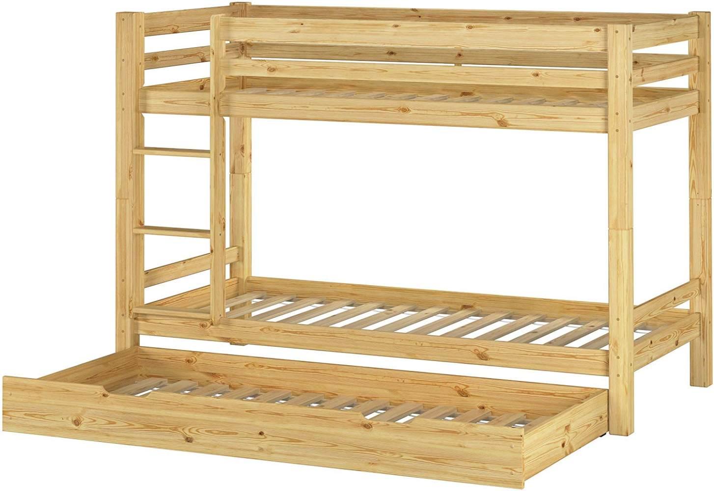 Erst-Holz Etagenbett Kiefer 90x200 cm inkl. Gästebettkasten, natur Bild 1