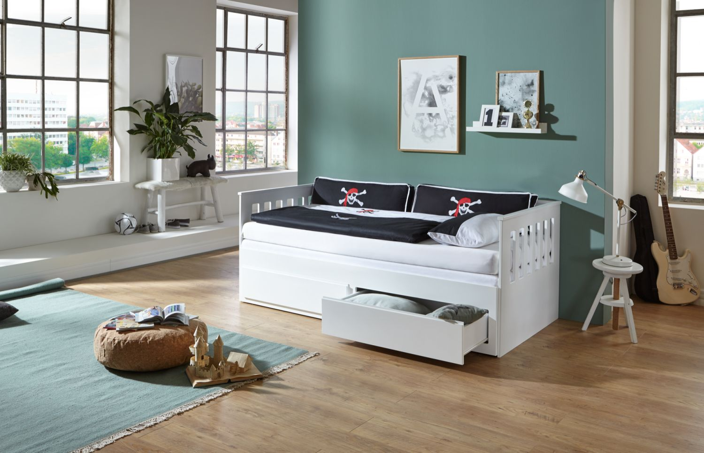 Relita Bett Einzelbett Kick Kinderbett Weiß 90x200cm mit Auszugsfunktion Bild 1