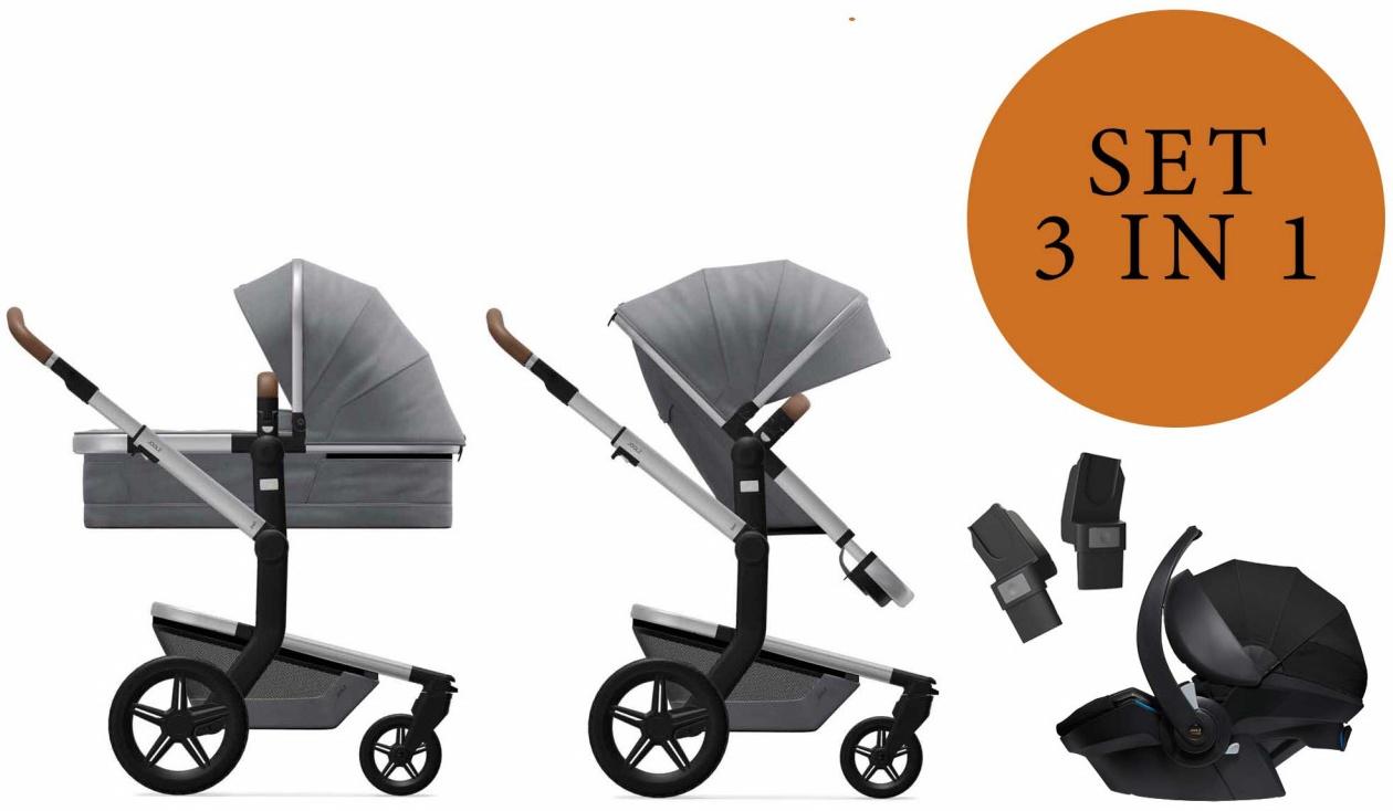 Joolz 'Day+' Kombikinderwangen 3in1 2020 in Gorgeous Grey, inkl. Joolz Babyschale in Schwarz Bild 1