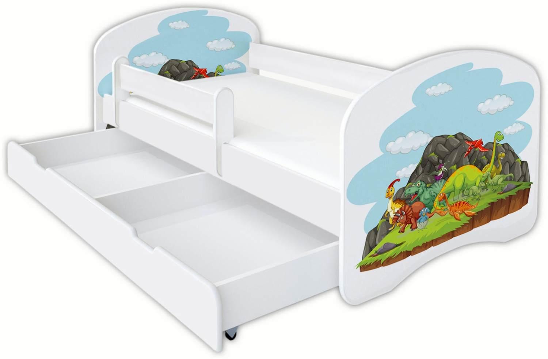 Clamaro 'Schlummerland Dinosaurier' Kinderbett 70x140 cm, Design 5, inkl. Lattenrost, Matratze, Rausfallschutz und Schublade Bild 1